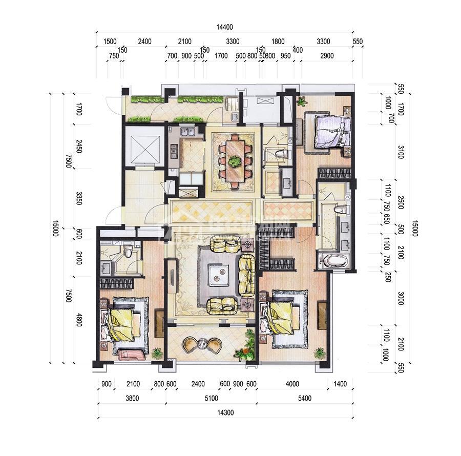 1#196平米三房二厅三卫户型
