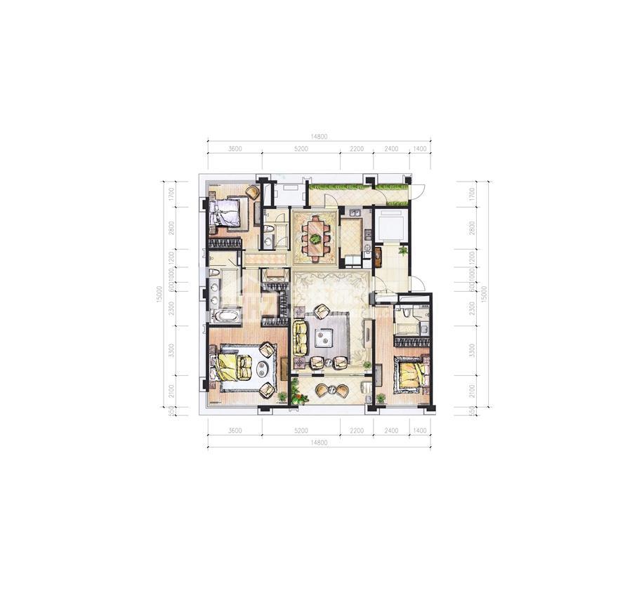 1#205平米三房二厅三卫户型