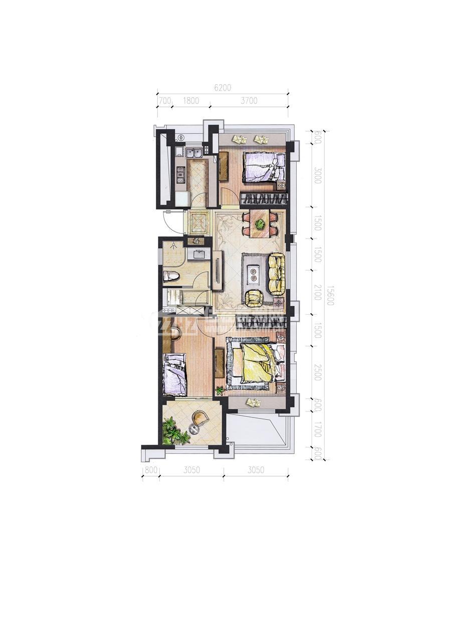 5#A88平米三室二厅一卫