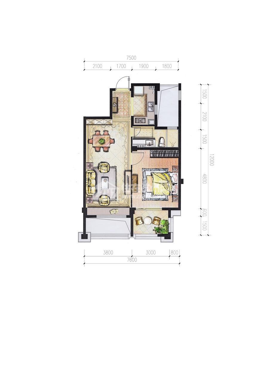 5#B78平米一室二厅一卫