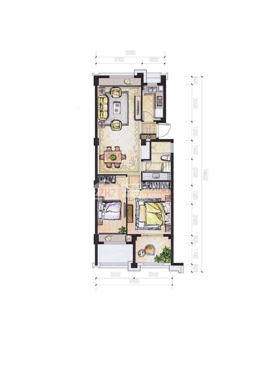 5#C88平米二室二厅一卫