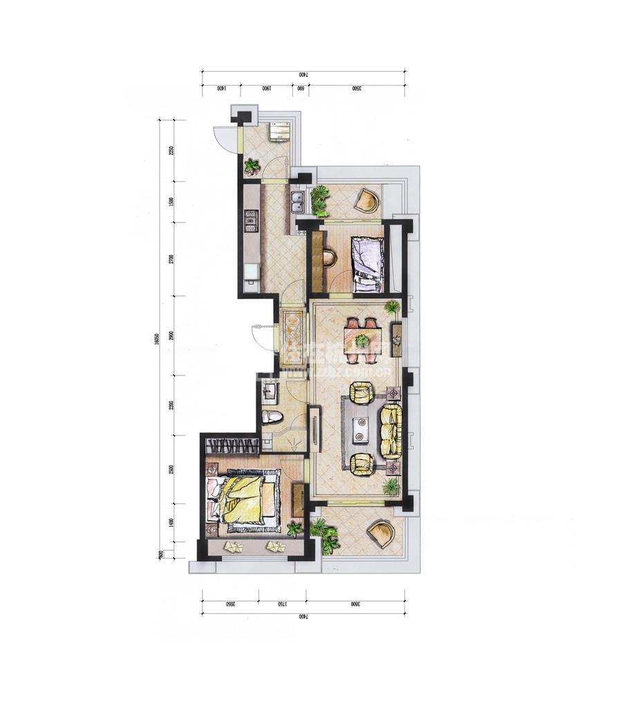 6#89平米二房二厅一卫